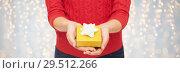Купить «close up of woman in red sweater holding gift box», фото № 29512266, снято 10 сентября 2014 г. (c) Syda Productions / Фотобанк Лори