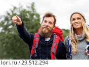 couple of travelers with backpacks hiking. Стоковое фото, фотограф Syda Productions / Фотобанк Лори