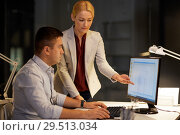 Купить «business team with computer working late at office», фото № 29513034, снято 6 декабря 2017 г. (c) Syda Productions / Фотобанк Лори