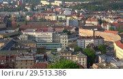 Купить «Панорама современного Брно апрельским утром. Чехия», видеоролик № 29513386, снято 24 апреля 2018 г. (c) Виктор Карасев / Фотобанк Лори