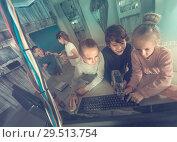Купить «children play in the quest room of a inscrutable bunker», фото № 29513754, снято 21 октября 2017 г. (c) Яков Филимонов / Фотобанк Лори