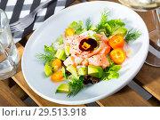 Купить «Ceviche of salmon with avocado, kumquat and dill», фото № 29513918, снято 16 июля 2019 г. (c) Яков Филимонов / Фотобанк Лори