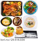 Купить «Collage of different meals isolated», фото № 29514034, снято 16 декабря 2018 г. (c) Яков Филимонов / Фотобанк Лори