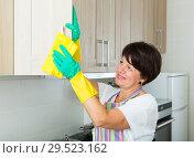 mature woman cleaning. Стоковое фото, фотограф Яков Филимонов / Фотобанк Лори