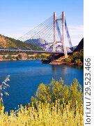 Купить «Cable-stayed bridge over reservoir of Barrios de Luna», фото № 29523466, снято 2 июля 2015 г. (c) Яков Филимонов / Фотобанк Лори