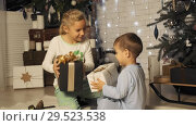 Купить «Brother and sister shake boxes with Christmas gifts under the Christmas tree in slow motion», видеоролик № 29523538 (c) Denis Mishchenko / Фотобанк Лори