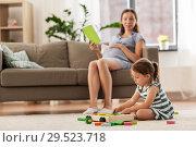 Купить «happy baby girl playing with toy blocks at home», фото № 29523718, снято 23 июля 2018 г. (c) Syda Productions / Фотобанк Лори