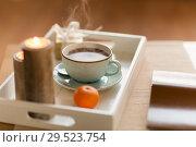 Купить «hot chocolate, christmas gift and candles on table», фото № 29523754, снято 13 января 2018 г. (c) Syda Productions / Фотобанк Лори