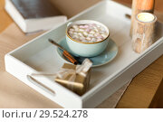 Купить «hot chocolate, christmas gift and candles on table», фото № 29524278, снято 13 января 2018 г. (c) Syda Productions / Фотобанк Лори