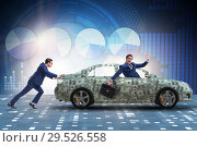 Купить «Businessman pushing car in business concept», фото № 29526558, снято 21 января 2020 г. (c) Elnur / Фотобанк Лори