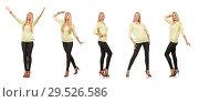 Купить «Pretty woman in yellow blouse isolated on white», фото № 29526586, снято 17 сентября 2014 г. (c) Elnur / Фотобанк Лори
