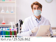 Купить «Young chemist working in the lab», фото № 29526862, снято 21 августа 2018 г. (c) Elnur / Фотобанк Лори