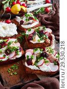 Купить «Smorrebrod with fish - danish open faced sandwich», фото № 29530218, снято 1 декабря 2018 г. (c) Oksana Zh / Фотобанк Лори