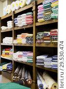 Купить «different fabric bolts exposed on shelves», фото № 29530474, снято 2 марта 2018 г. (c) Яков Филимонов / Фотобанк Лори
