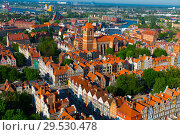 Купить «Aerial view of Gdansk with Gothic Church», фото № 29530478, снято 12 мая 2018 г. (c) Яков Филимонов / Фотобанк Лори