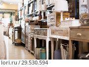 Купить «Wide variety of vintage furniture in store», фото № 29530594, снято 9 ноября 2017 г. (c) Яков Филимонов / Фотобанк Лори