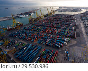 Купить «Industrial port of Barcelona in daytime.», фото № 29530986, снято 25 декабря 2017 г. (c) Яков Филимонов / Фотобанк Лори