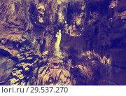 Купить «Image of cave Grotte des Demoiselles illuminated inside», фото № 29537270, снято 21 января 2019 г. (c) Яков Филимонов / Фотобанк Лори