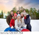 Купить «friends with snow tubes taking selfie in winter», фото № 29537754, снято 19 января 2015 г. (c) Syda Productions / Фотобанк Лори