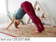Купить «woman does downward-facing dog pose at yoga studio», фото № 29537866, снято 21 июня 2018 г. (c) Syda Productions / Фотобанк Лори