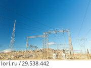 Купить «transmission towers and power line», фото № 29538442, снято 3 марта 2018 г. (c) Syda Productions / Фотобанк Лори