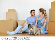Купить «happy couple with boxes and dog moving to new home», фото № 29538622, снято 4 июня 2017 г. (c) Syda Productions / Фотобанк Лори