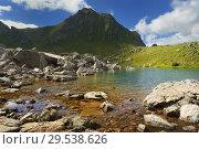 Купить «Lake in mountains», фото № 29538626, снято 14 августа 2018 г. (c) александр жарников / Фотобанк Лори