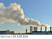 Купить «Pollution air. Industrial smoke in city. Москва», фото № 29538826, снято 29 ноября 2018 г. (c) Валерия Попова / Фотобанк Лори