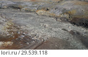 Купить «Natural aggressive volcano landscape - hot mineral water stream», видеоролик № 29539118, снято 26 сентября 2018 г. (c) А. А. Пирагис / Фотобанк Лори