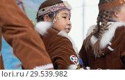 Girl dancing in national clothing indigenous inhabitants Kamchatka (2018 год). Редакционное видео, видеограф А. А. Пирагис / Фотобанк Лори