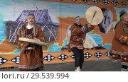 Купить «Incendiary dance of indigenous inhabitants of Kamchatka with tambourine», видеоролик № 29539994, снято 4 ноября 2018 г. (c) А. А. Пирагис / Фотобанк Лори