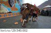 Купить «Man in bearskin dances with women in national clothing indigenous Kamchatka», видеоролик № 29540002, снято 4 ноября 2018 г. (c) А. А. Пирагис / Фотобанк Лори