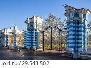 Купить «Золотые ворота и ограда Екатерининского дворца, г. Пушкин, Санкт-Петербург», фото № 29543502, снято 7 ноября 2017 г. (c) Юлия Бабкина / Фотобанк Лори