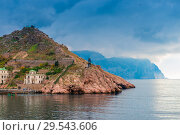 Купить «Mountains in the Balaklava Bay in Crimea, dramatic sky above the sea and mountains», фото № 29543606, снято 8 ноября 2017 г. (c) Константин Лабунский / Фотобанк Лори