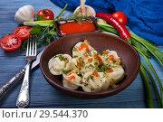 Купить «Dumplings in clay plate», фото № 29544370, снято 15 марта 2018 г. (c) Okssi / Фотобанк Лори