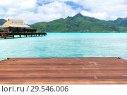 Купить «wooden pier and bongalow in french polynesia», фото № 29546006, снято 16 февраля 2018 г. (c) Syda Productions / Фотобанк Лори
