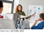Купить «creative woman showing user interface at office», фото № 29546302, снято 1 апреля 2018 г. (c) Syda Productions / Фотобанк Лори