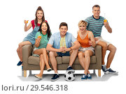 Купить «friends or soccer fans with ball and drinks», фото № 29546318, снято 30 июня 2018 г. (c) Syda Productions / Фотобанк Лори