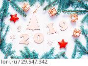 Купить «New Year 2019 card - 2019 figures,Christmas toys, fir branches. Flat lay, top view, New Year 2019 still life», фото № 29547342, снято 30 ноября 2016 г. (c) Зезелина Марина / Фотобанк Лори