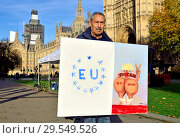 Купить «Kaya Mar, political satirical cartoonist, in Westminster with his work as Brexit is discussed in Parliament 14th November 2018.», фото № 29549526, снято 14 ноября 2018 г. (c) age Fotostock / Фотобанк Лори