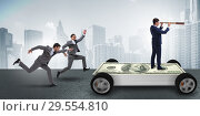 Купить «Businessman in the business concept with dollar car», фото № 29554810, снято 20 июня 2019 г. (c) Elnur / Фотобанк Лори