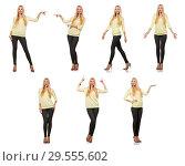 Купить «Pretty woman in yellow blouse isolated on white», фото № 29555602, снято 17 сентября 2014 г. (c) Elnur / Фотобанк Лори