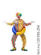 Купить «Funny clown isolated on white background», фото № 29556254, снято 28 сентября 2018 г. (c) Elnur / Фотобанк Лори