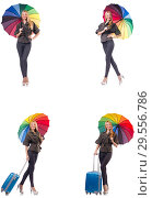 Купить «Woman with suitcase and umbrella isolated on white», фото № 29556786, снято 20 января 2019 г. (c) Elnur / Фотобанк Лори