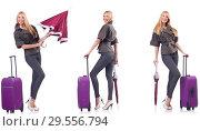 Купить «Young beautiful woman with suitcase and umbrella isolated on whi», фото № 29556794, снято 19 февраля 2019 г. (c) Elnur / Фотобанк Лори