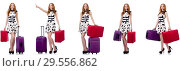 Купить «Beautiful woman in polka dot dress with suitcases isolated on wh», фото № 29556862, снято 25 февраля 2020 г. (c) Elnur / Фотобанк Лори