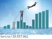 Купить «Businessman outperforming his competition jumping over», фото № 29557062, снято 4 апреля 2020 г. (c) Elnur / Фотобанк Лори