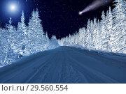 Купить «Moon and comet over night winter forest. Night sky with stars. Winter night landscape. Spruce forest in winder», фото № 29560554, снято 5 января 2018 г. (c) Евгений Ткачёв / Фотобанк Лори