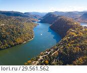 Купить «Aerial view of Ter river, Catalonia», фото № 29561562, снято 11 ноября 2018 г. (c) Яков Филимонов / Фотобанк Лори