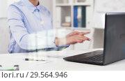 Купить «businesswoman hands typing on laptop at office», видеоролик № 29564946, снято 10 декабря 2018 г. (c) Syda Productions / Фотобанк Лори